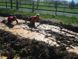 Mud, muck, water, slipping, sliding, crawling...