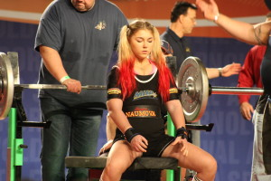 Here she prepares for 290lbs