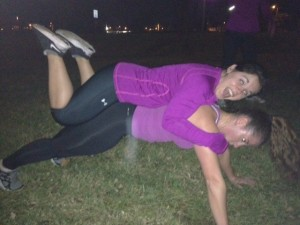 You can also do push-ups with friends on your back when you wear Nikes. Here, Laken and I both sport the Frees.