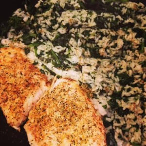 Rice is really cheap. Here, I have hog fish caught and given to me by a friend, and I cooked some white rice and frozen spinach together, adding my favorite seasonings to the mix. Note: I usually buy organic spinach because it's on the list of highly toxic sprayed foods!