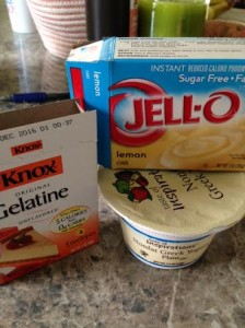 Possibly my best ever creation: the closest thing to cake batter you'll ever eat! One cup of greek yogurt with a half a package of sugar free/fat free lemon pudding mix, a few TBS of your choice milk product, mix, refrigerate for an hour (or eat it right away, doesn't really matter), and this is my favorite semi-healthy dessert! I've recently started adding a packet of gelatin to the mix (or to my post workout meals) to get the 8 extra grams of protein AND the added collagen repair.