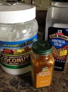"These are my three must-haves: coconut oil--an essential ""good"" fat, turmeric--an inflammation and cancer fighting spice, and Montreal Steak Seasoning--which just makes EVERYTHING taste better."