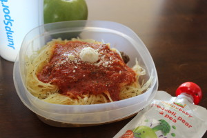 Spaghetti squash, an apple, and one of my favorite quick go-to snacks--Happy Tots fruit and veggie packs. :)