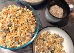 A one dish meal! I took frozen riced cauliflower and sweet potatoes, cooked them in the microwave and then added them to a skillet of turkey sausage and eggs. Add a side of oats for baby-milk-making and Im set!