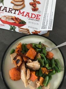 Four minutes in the microwave and Ive got veggies, sweet potatoes with cinnamon, and turkey. Yeah, its a processed meal, but it beats a LOT of other fast food options--especially if youre tired of salads. And these are GREAT for brand new moms. Trust me. ;)