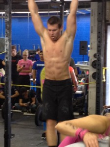 Grady gets set for another round of pullups!