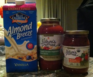 A few of my staples: almond milk, organic low sugar pasta sauce, organic salsa. For me, salsa goes on everything!
