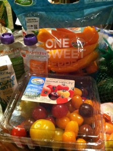 tomatoes, carrots, peppers, steamer-bag vegetables, baby food veggie packs, coconut water