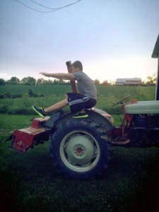 Trevor reppin' out some pistol squats on the farm. Seriously, this guy deserves a trip to CA. ;)
