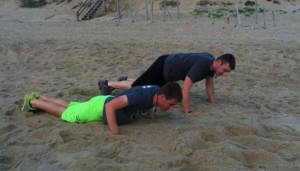 Beach burpees! Trevor never misses an opportunity to workout. Trevor, are these your workout nanos or your everyday pair?
