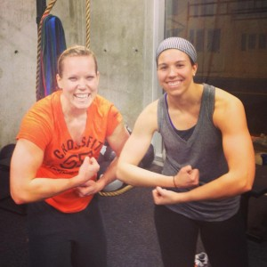Abby rockin' the bang buster headband while breakin' out the big guns with Tori. Hey Abby, where's the watch?