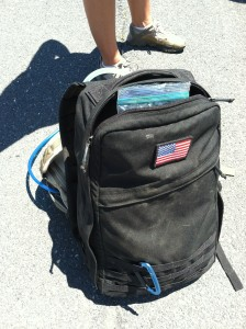 The oversized ruck that I borrowed for the day. It might have saved my shoulders, but it didn't save my back from aching.