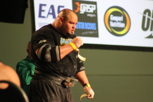 2013 World's Strongest Man, Brian Shaw, prepares for an 1100 lb deadlift