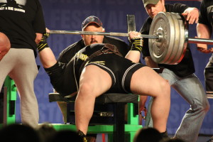 The Arnold also featured powerlifting -- here the world record benchpresser is warming up with 800lb+