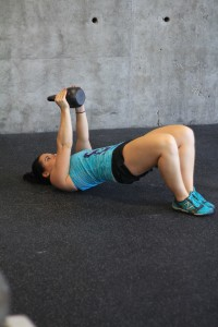 Bridges with a kettlebell for added resistance!