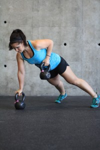Rows from plank position with kettlebells. If balance is an issue, keep the opposite hand on the floor instead of the bell handle.