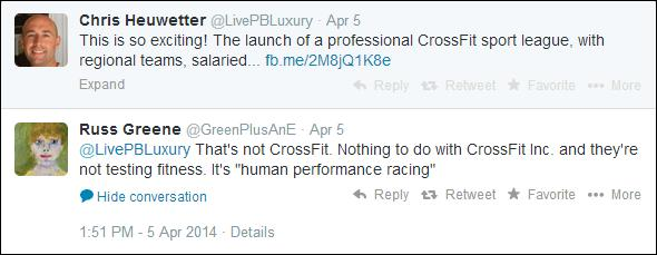 Russ Greene, spokesperson for CrossFit, seems to be distancing himself from the NPFL.