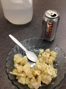 Cauliflower and egg whites snack. And a Diet Coke that I did NOT share with a friend.