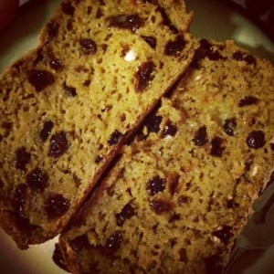 Gluten free cinnamon raisin bread that I made last week. It was too good not to share with Erik. ;)