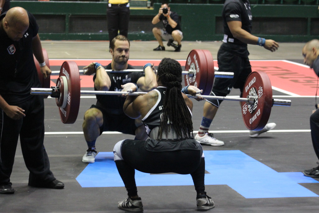 DC Brawlers, Tim Carroll and Taylar Stallings in Race 2, the Front Squat Mirror