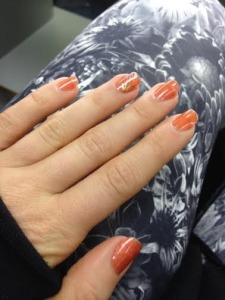 The weekend started with manicures! I asked for something fall-ish...not crazy about it but it will do for now.
