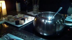 The desserts at The Melting Pot along side the Dulce Dark Chocolate with Sea Salt. #OMGsoamazing