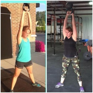 Contributor and Ambassador, Tasha, on the left swinging the 20 lb kettlebell upon first joining CrossFit. On the left, swinging 53 lbs.