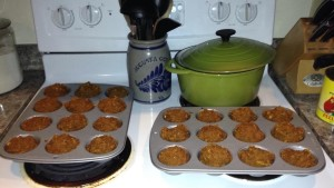 24 hearty pumpkin muffins: 4 cups pumpkin, 4 eggs, 4 tsp vanilla, 2 TBS honey, 2 TBS brown sugar, 4 1/4 cup oat flour, 1 tsp salt, 2 tsp baking soda, 1 tsp baking powder, pumpkin pie spice, nutmeg, cinnamon. Bake at 350 for 18+ minutes.
