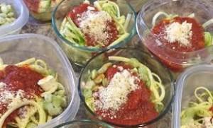 Zoodles; all natural, low sugar, organic marinara; lima beans; parmesan. YUM!