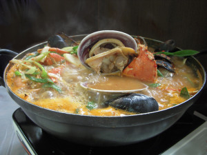 Seafood soup in hot pot