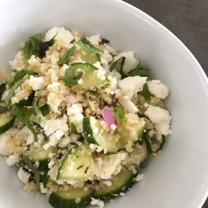 A fresh, summery cucumber, quinoa, and feta salad with fresh dill and red onion. NOT Whole30 approved but seriously? This cannot be that bad for me. Can it?!